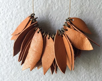 Tan Leather Leaves Necklace
