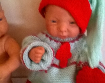 together knitted baby reborn Christmas
