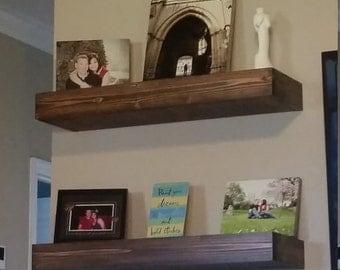 Rustic wood'n floating shelves