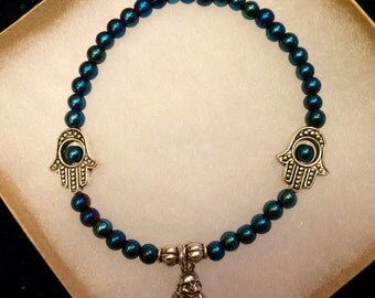 Iridescent Blue w/Silver Hamsa Hands and Buddha Bracelet