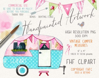 Vintage Camper Digital Clip Art | Retro Camper Digital Clipart | Personal & Commercial Use | For use in invitations, girls wall art