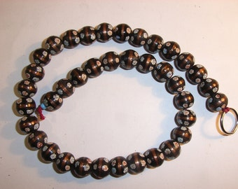 8931:39 Black Contemporary Millefiore Glass Beads, hand-made in Java