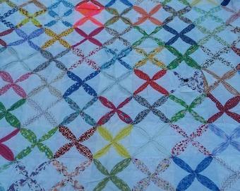 Vintage hand stitched quilt 72x60