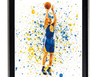 Watercolor Stephen Curry print art matte