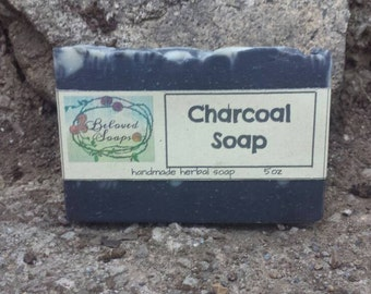 Activated Charcoal Soap with Balsam Tolu and Tea tree oils. Natural handmade soap.  Big bar 5 oz.