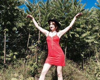 SALE Cherry Red Vintage Slip Dress