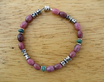 Pink Rhodonite with Turquoise and Silver