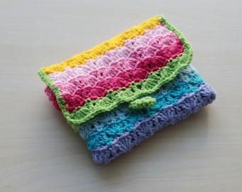Crochet rainbow purse