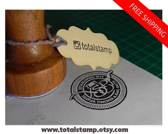 Custom Logo Stamp - Personalized with your Logo - Any Text - Image