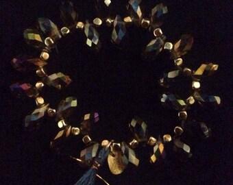 Teardrop and Gold Beaded Tassel Bracelet