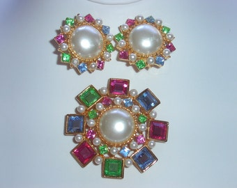 Signed Craft Rhinestone / Pearl Brooch & Earrings Demi