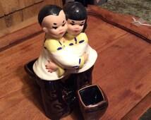 Valentine's Vintage ~ Embracing Sweet Hearts ~ Ceramic  Oriental Figurine Planter