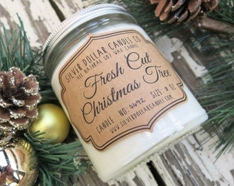 Fresh Cut Christmas Tree | Christmas Candle, Christmas gift, 8oz Soy Candle, Christmas for her, Holiday Candle, Winter Home Decor, Fir