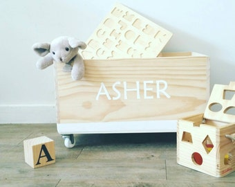 Toy Box Personalized custom toybox wood wooden toys storage gift kids name customized timber on wheels mobile castors gift toddler baby gift