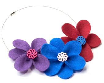 Chain | Flower necklace | statement necklace | hippie necklace | Textile necklace