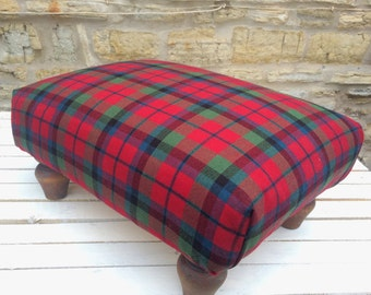 Footstool, heavy duty, wool tartan fabric, feather stuffing, reclaimed solid wood frame and legs