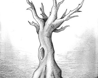 pen, ink and graphite dead tree drawing