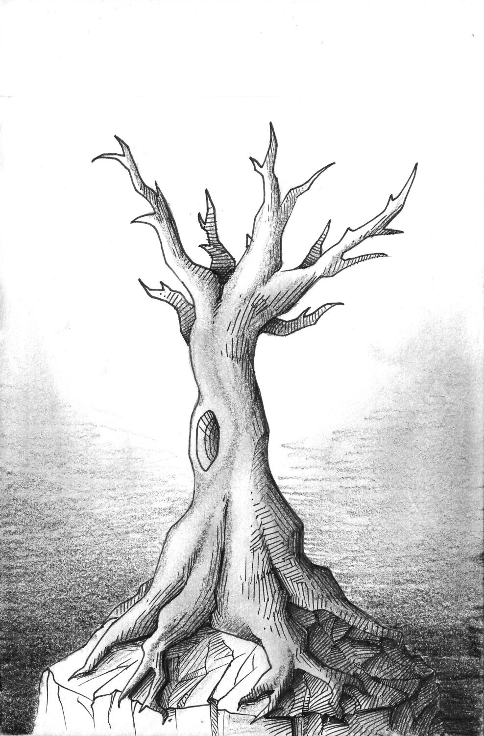 It is a picture of Clever Tree Pen Drawing