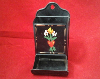 Antique matchstick holder Vintage kitchen heart and flowers match Fulton Il  matches
