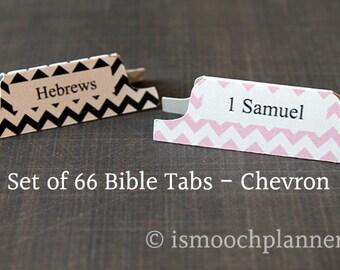 1 Set of 66 Bible Tabs - Chevron | Bible Journal | Scripture Dividers | Bible Tabs | Bible Journaling