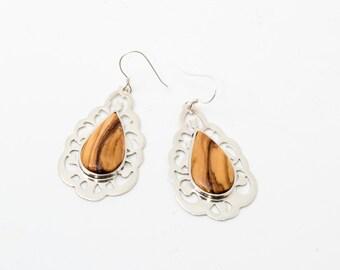 Silver earrings, olive wood