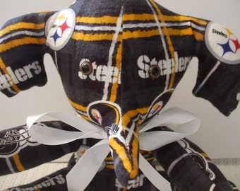 Steelers Elephant, Steelers toy elephant, Football toy, Steelers football plush elephant, Steelers flannel fabric, free shipping