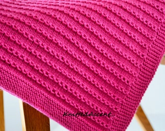 A fantastically beautiful, elegant and high quality cotton merino baby blanket made by me! Color and size may differ slightly in person.