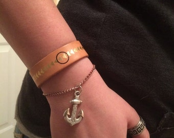Leather Cuff with Anchor Charm