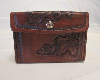 Leather Belt Bag with Maple Leaf Pattern, Hand Carved, Hand Tooled