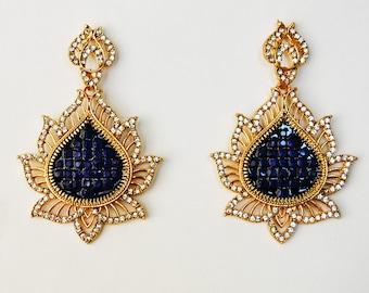 Sale Oriental Earrings Hurrem Earrings Oversize Earrings Lotus Earrings Turkish Earrings Rhinestone Earrings  Earrings Glass Ethnic Earrings