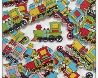 """10 or 20 Train buttons, random mix train buttons, novelty transport, wood train buttons, scrapbooking, sewing, crafts 31mm 1 1/4"""" 31 mm"""