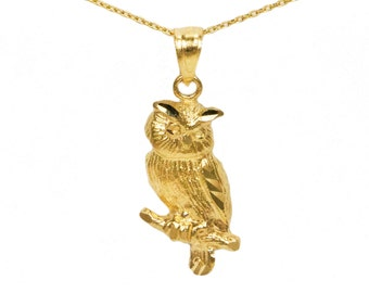 14k Yellow Gold Owl Pendant
