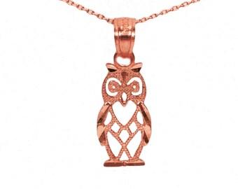 14k Rose Gold Owl Necklace