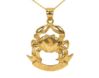 10k Yellow Gold Cancer Necklace