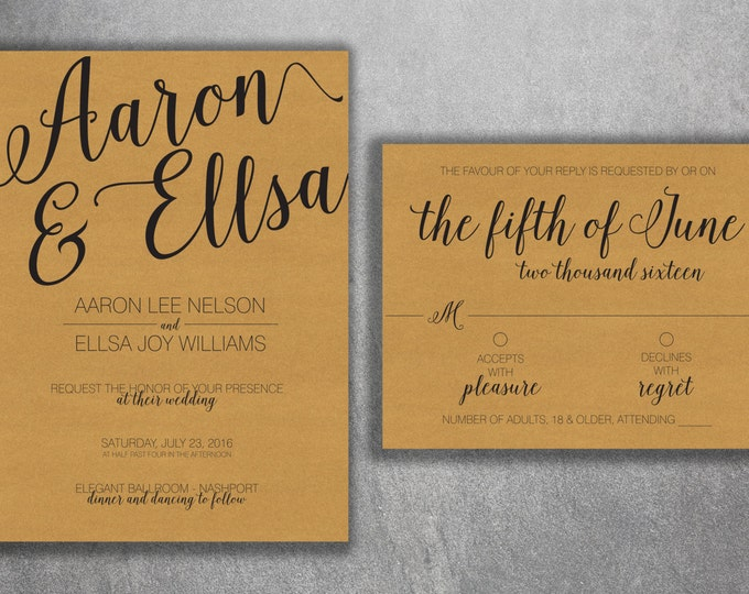Kraft Rustic Wedding Invitations Set Printed - Cheap Wedding Invitations, Burlap, Custom, Country Theme, Affordable, DIY, Woodsy