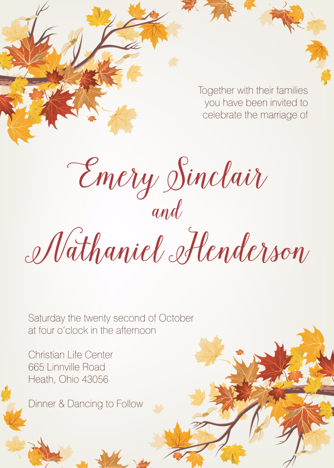 Cheap Fall Wedding Invitations granddaughter birthday card