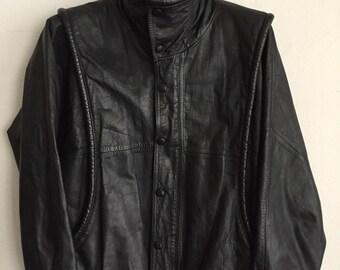 Steep Short Vintage Black Genuine Soft Leather Jacket Men's Size Medium.