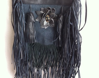 Real crossbody handmade bag soft&genuine leather with elements of fashionable leather fringe with decoration new women's colored size-small.