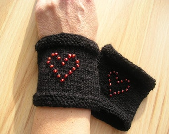 short wrist warmers with cuffs, beaded heart, Valentine