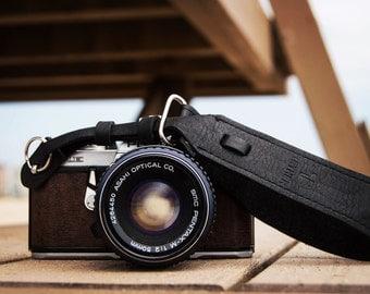 Black Leather Wrist camera strap for DSLR or SLR camera, DSLR Camera Strap. Camera accessories. Canon camera strap. Nikon camera strap.
