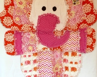 Pink and Orange Elephant Shaped Raggy Quilt