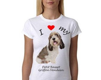 Petit Basset Griffon Vendeen shirt - Shirt with picture of Petit Basset Griffon Vendeen - I Heart my Petit Basset Griffon Vendeen