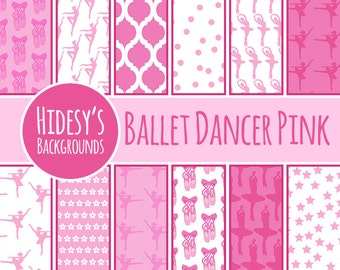 Ballet Dancer Pink Digital Paper // Ballerina Scrapbooking Paper // Ballerina Dancing Digital Scrapbooking // Ballet or Dance Digital Paper