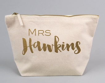 Personalised MRS / Wedding Engagement Gift Bag / Large Zipped Make up / Toiletry Bag with Gold foiled Text on a Natural Cotton Canvas