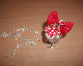 Necklace sautoir Cup of Strawberry ice cream