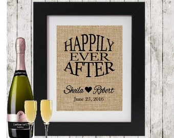 NEW Happily Ever After personalized burlap print - Rustic Wedding Decor - Personalized Wedding gift for couple -