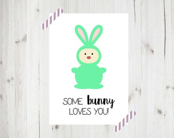 Some Bunny Wall Art A4, Kids Room Wall Decor, Printed Artwork