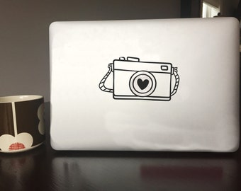 Computer Decal - Camera with Heart - Vinyl decal for Mac and or PC Laptop