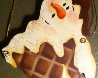 Wood Melting Ice Cream Christmas Ornament