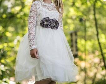 Long sleeve flower girl dress,gray flower girl dress,gray lace flower girl dress,winter flower girl dress,grey flower girl dress,grey dress